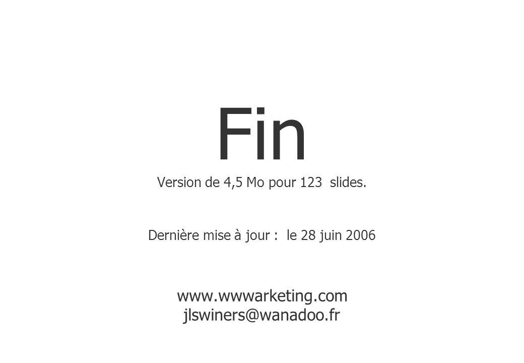 Fin Version de 4,5 Mo pour 123 slides. Dernière mise à jour : le 28 juin 2006 www.wwwarketing.com jlswiners@wanadoo.fr