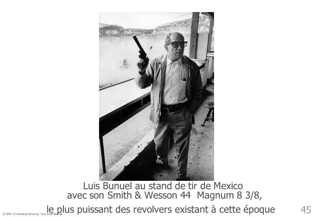 © 2006 WWWarketing Consulting. Tous droits réservés 45 Luis Bunuel au stand de tir de Mexico avec son Smith & Wesson 44 Magnum 8 3/8, le plus puissant