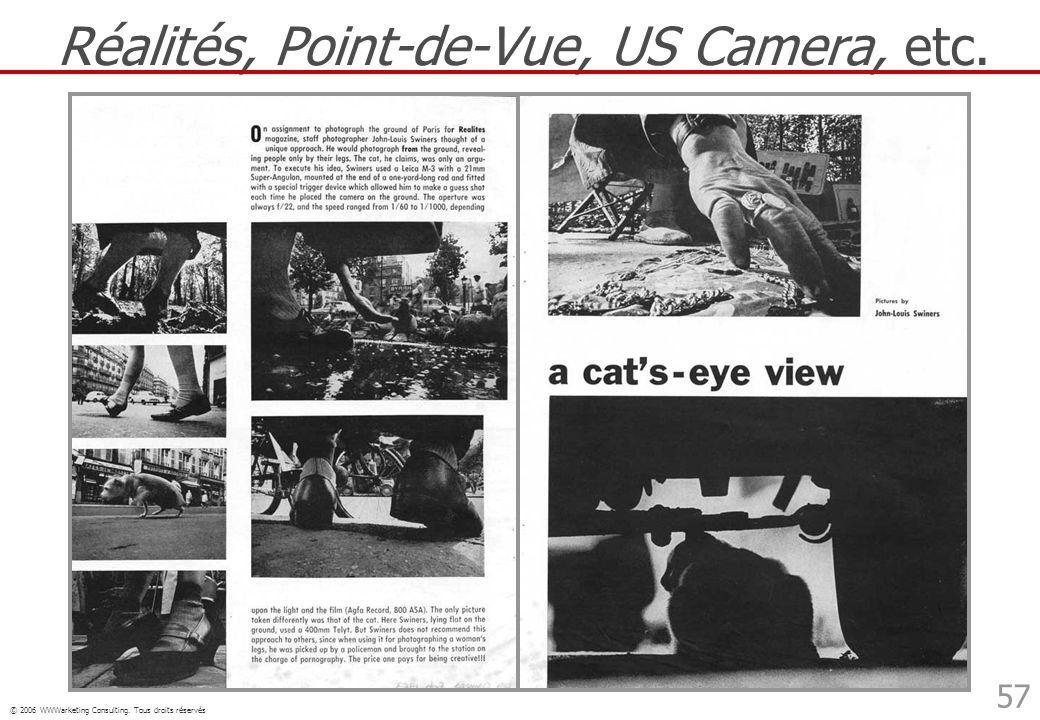 © 2006 WWWarketing Consulting. Tous droits réservés 57 Réalités, Point-de-Vue, US Camera, etc.