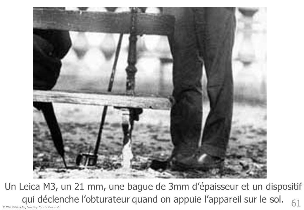 © 2006 WWWarketing Consulting. Tous droits réservés 61 Un Leica M3, un 21 mm, une bague de 3mm dépaisseur et un dispositif qui déclenche lobturateur q