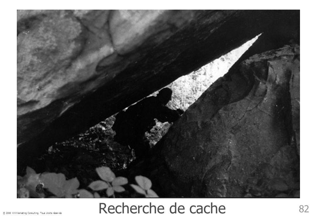 © 2006 WWWarketing Consulting. Tous droits réservés 82 Recherche de cache