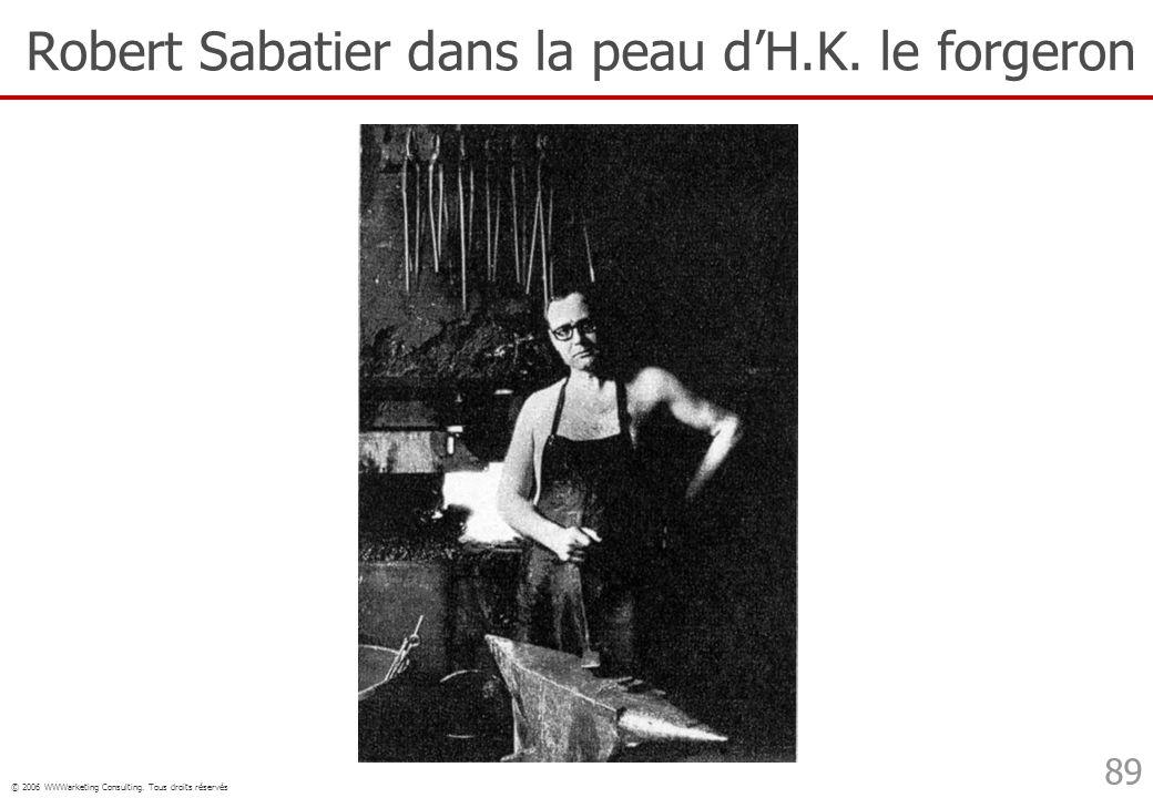 © 2006 WWWarketing Consulting. Tous droits réservés 89 Robert Sabatier dans la peau dH.K. le forgeron