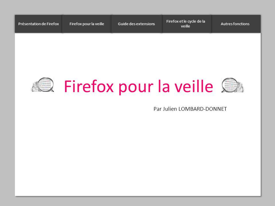 Firefox pour la veille Par Julien LOMBARD-DONNET Présentation de FirefoxFirefox pour la veilleAutres fonctions Firefox et le cycle de la veille Guide