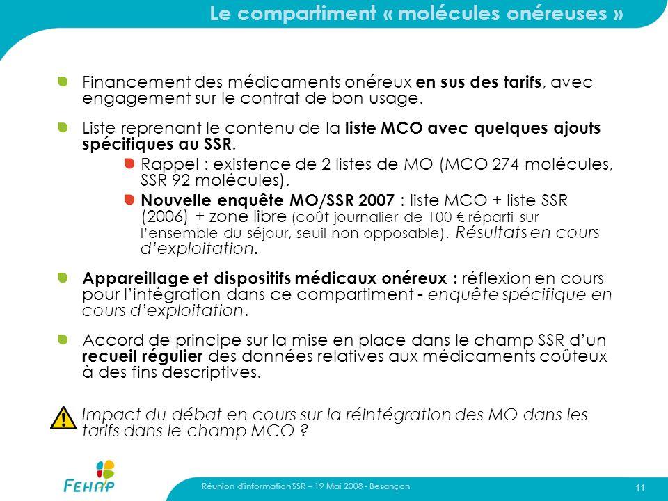 Réunion d'information SSR – 19 Mai 2008 - Besançon 11 Le compartiment « molécules onéreuses » Financement des médicaments onéreux en sus des tarifs, a