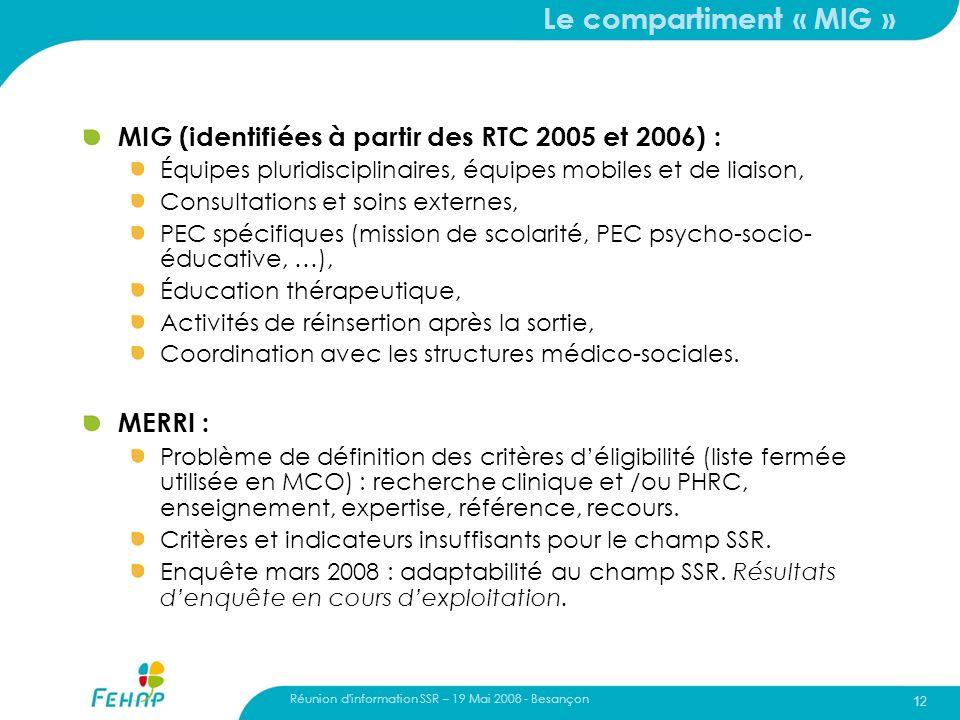 Réunion d'information SSR – 19 Mai 2008 - Besançon 12 Le compartiment « MIG » MIG (identifiées à partir des RTC 2005 et 2006) : Équipes pluridisciplin