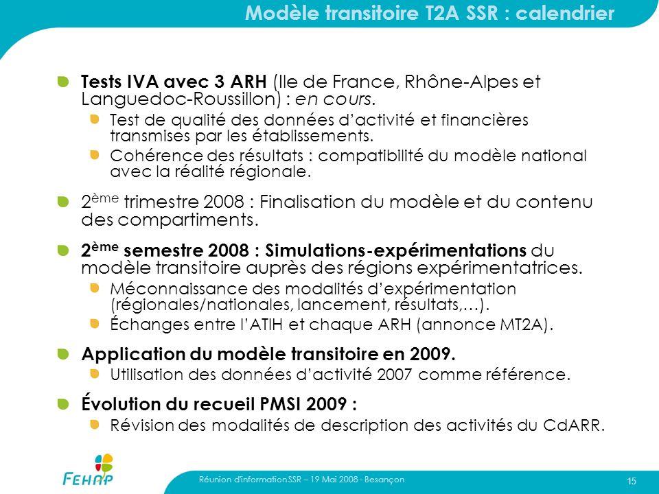 15 Modèle transitoire T2A SSR : calendrier Tests IVA avec 3 ARH (Ile de France, Rhône-Alpes et Languedoc-Roussillon) : en cours. Test de qualité des d