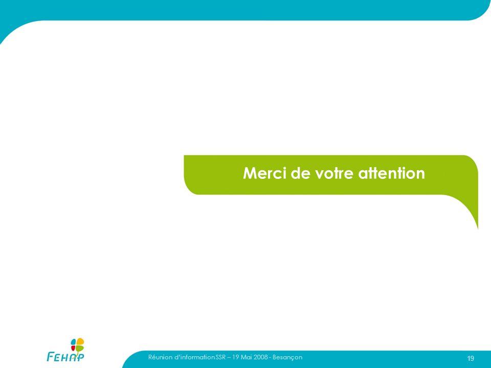 Réunion dinformation SSR – 19 Mai 2008 - Besançon 19 Merci de votre attention