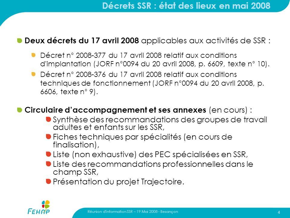 Réunion d'information SSR – 19 Mai 2008 - Besançon 4 Décrets SSR : état des lieux en mai 2008 Deux décrets du 17 avril 2008 applicables aux activités