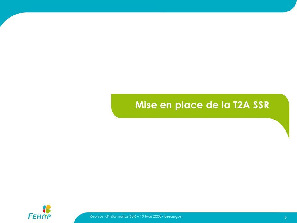 Réunion d'information SSR – 19 Mai 2008 - Besançon 8 Mise en place de la T2A SSR