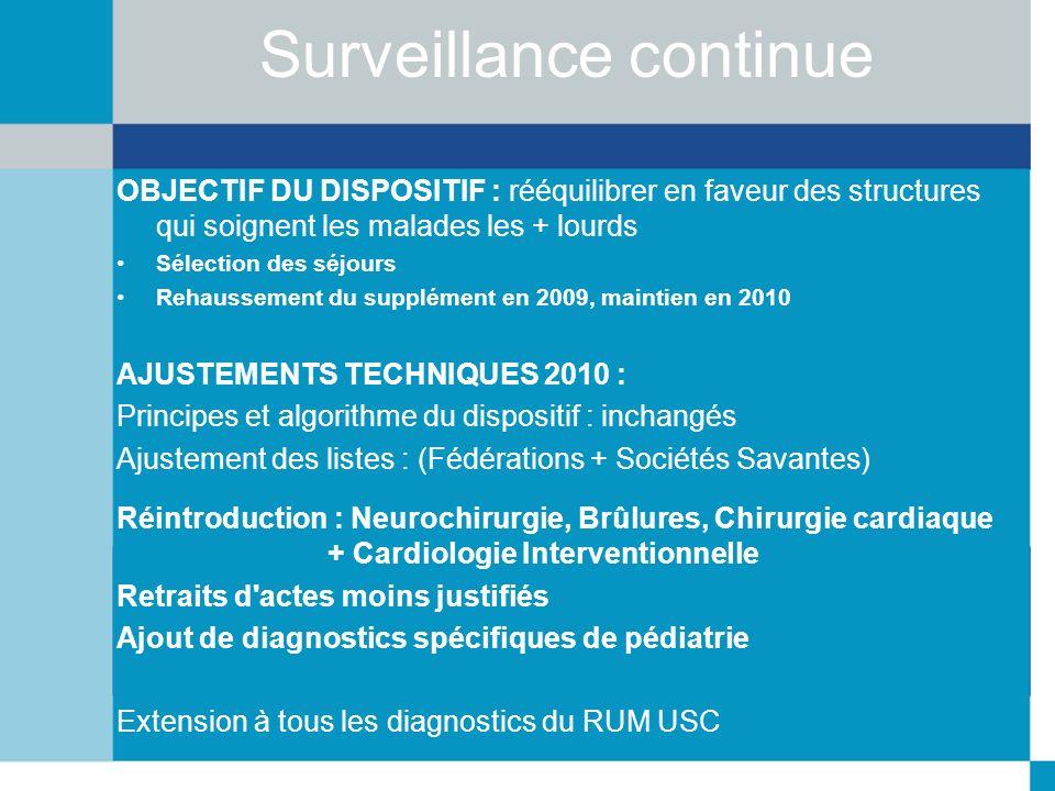 Surveillance continue OBJECTIF DU DISPOSITIF : rééquilibrer en faveur des structures qui soignent les malades les + lourds Sélection des séjours Rehau
