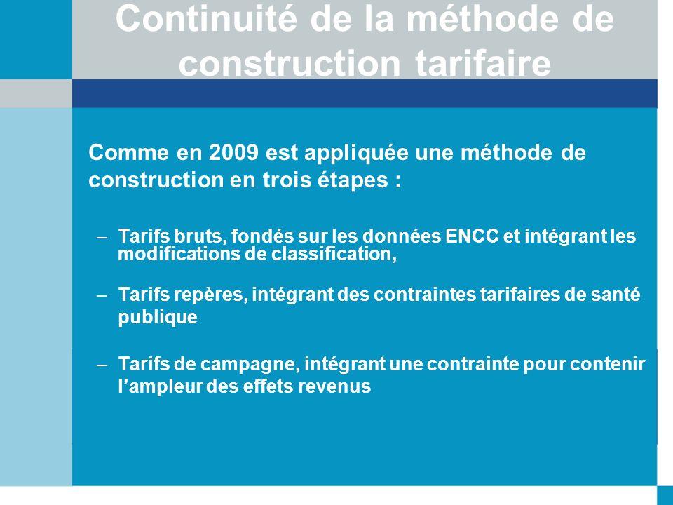 Continuité de la méthode de construction tarifaire Comme en 2009 est appliquée une méthode de construction en trois étapes : –Tarifs bruts, fondés sur