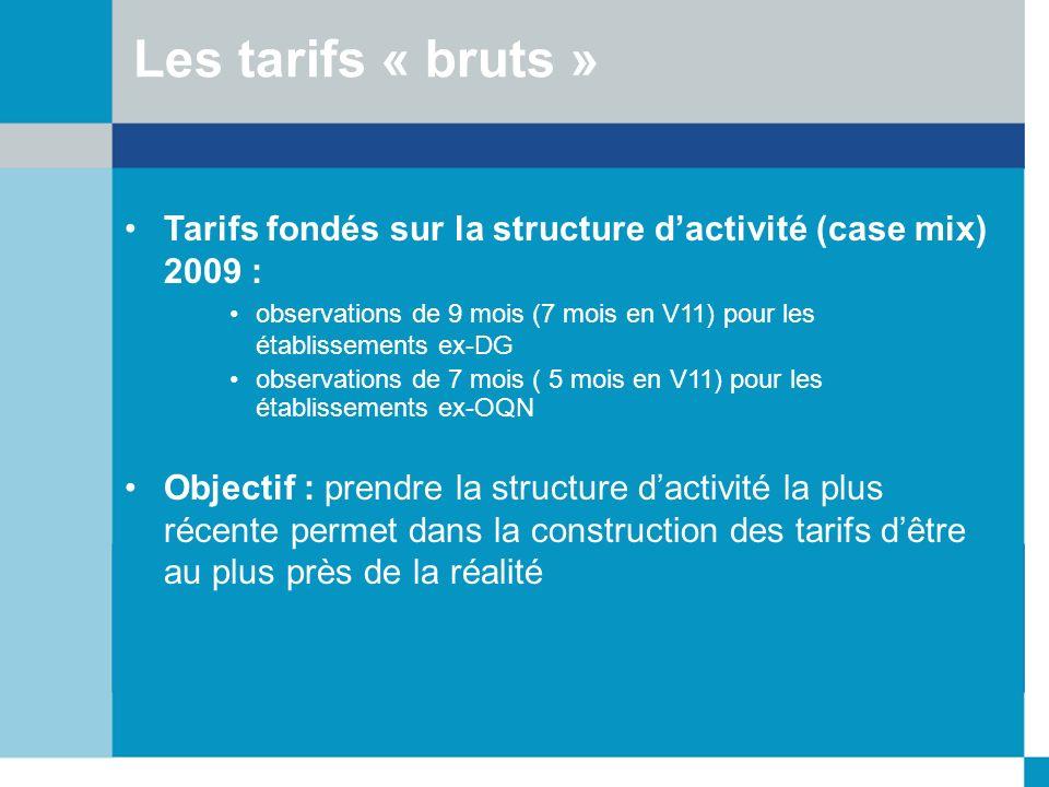 Tarifs fondés sur la structure dactivité (case mix) 2009 : observations de 9 mois (7 mois en V11) pour les établissements ex-DG observations de 7 mois