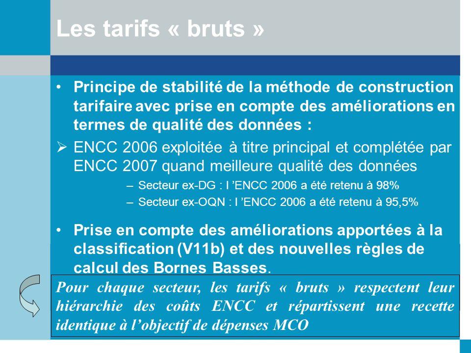 Principe de stabilité de la méthode de construction tarifaire avec prise en compte des améliorations en termes de qualité des données : ENCC 2006 expl