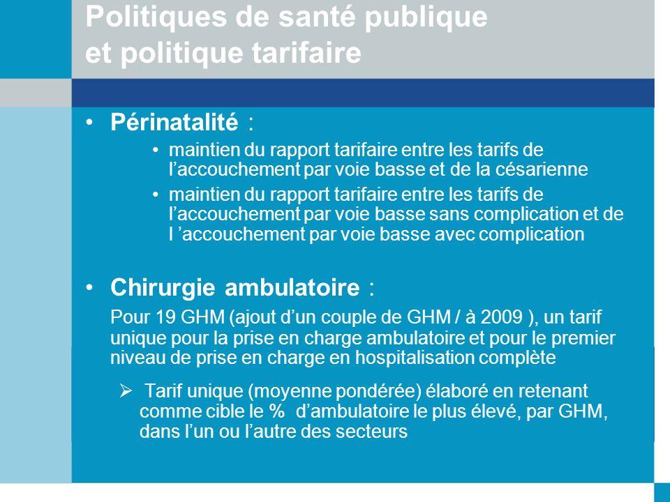 Politiques de santé publique et politique tarifaire Périnatalité : maintien du rapport tarifaire entre les tarifs de laccouchement par voie basse et d