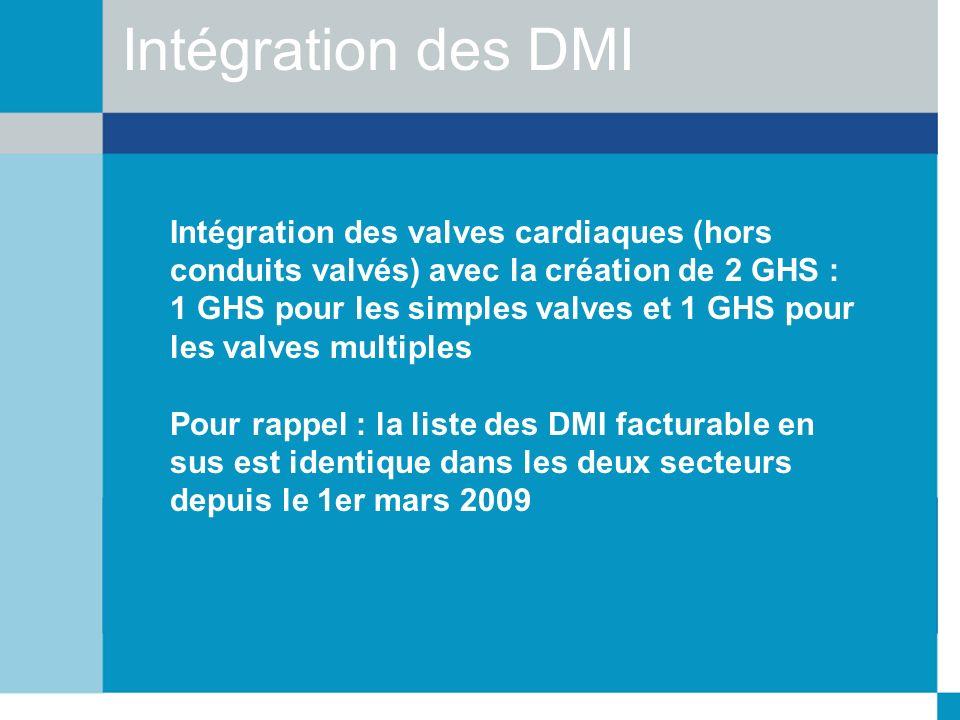Intégration des DMI Intégration des valves cardiaques (hors conduits valvés) avec la création de 2 GHS : 1 GHS pour les simples valves et 1 GHS pour l