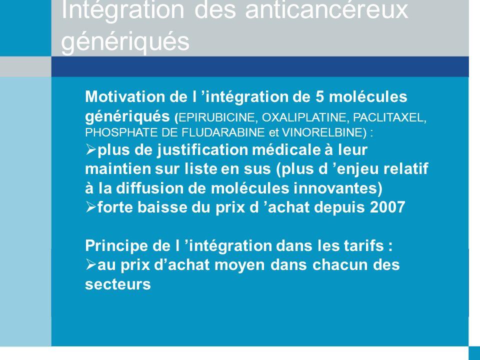 Intégration des anticancéreux génériqués Motivation de l intégration de 5 molécules génériqués (EPIRUBICINE, OXALIPLATINE, PACLITAXEL, PHOSPHATE DE FL