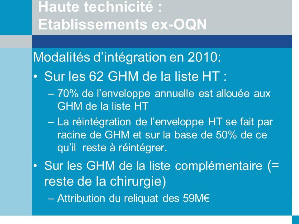 Haute technicité : Etablissements ex-OQN Modalités dintégration en 2010: Sur les 62 GHM de la liste HT : –70% de lenveloppe annuelle est allouée aux G