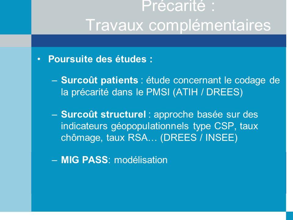 Précarité : Travaux complémentaires Poursuite des études : –Surcoût patients : étude concernant le codage de la précarité dans le PMSI (ATIH / DREES)