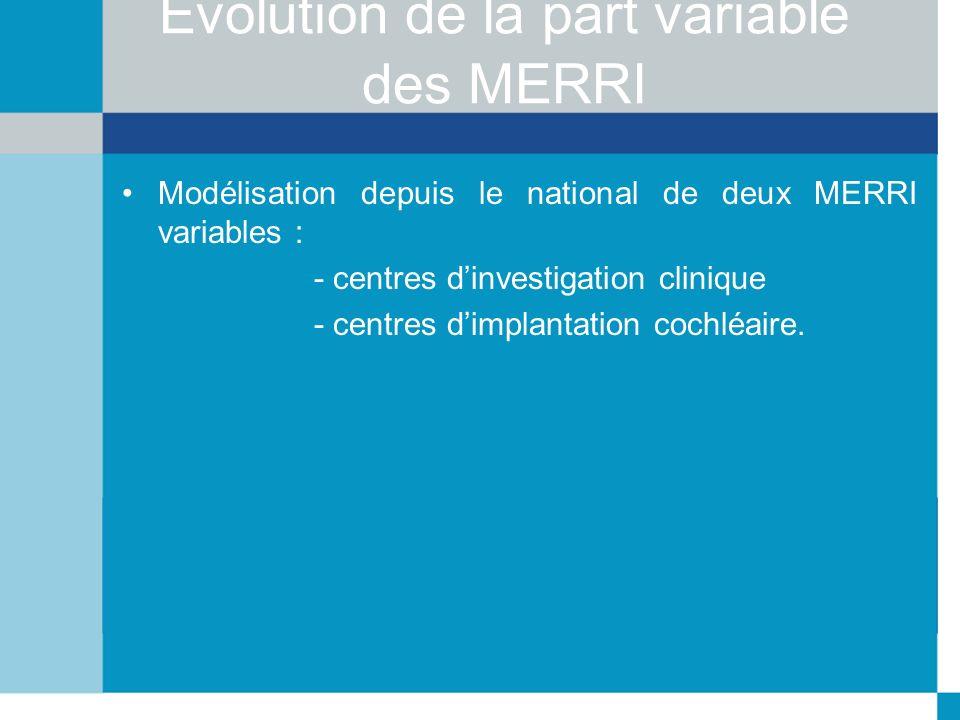 Evolution de la part variable des MERRI Modélisation depuis le national de deux MERRI variables : - centres dinvestigation clinique - centres dimplant