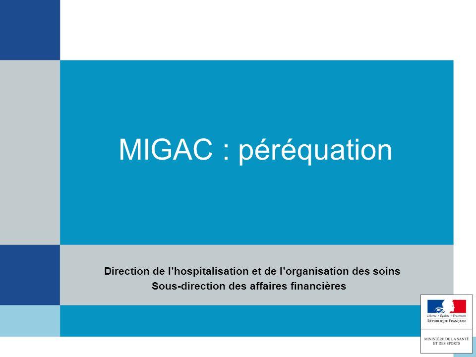MIGAC : péréquation Direction de lhospitalisation et de lorganisation des soins Sous-direction des affaires financières