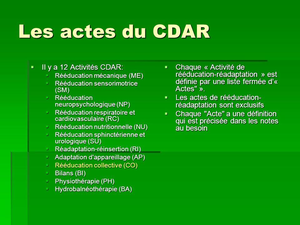 Les actes du CDAR Il y a 12 Activités CDAR: Il y a 12 Activités CDAR: Rééducation mécanique (ME) Rééducation mécanique (ME) Rééducation sensorimotrice