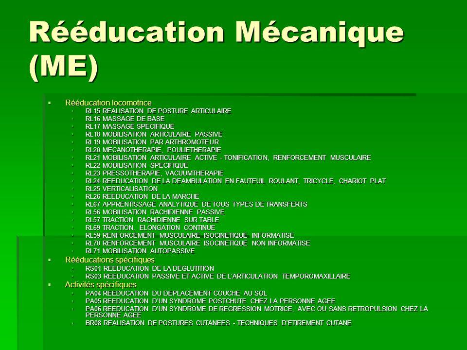 Rééducation Mécanique (ME) Rééducation locomotrice Rééducation locomotrice RL15 REALISATION DE POSTURE ARTICULAIRE RL15 REALISATION DE POSTURE ARTICUL