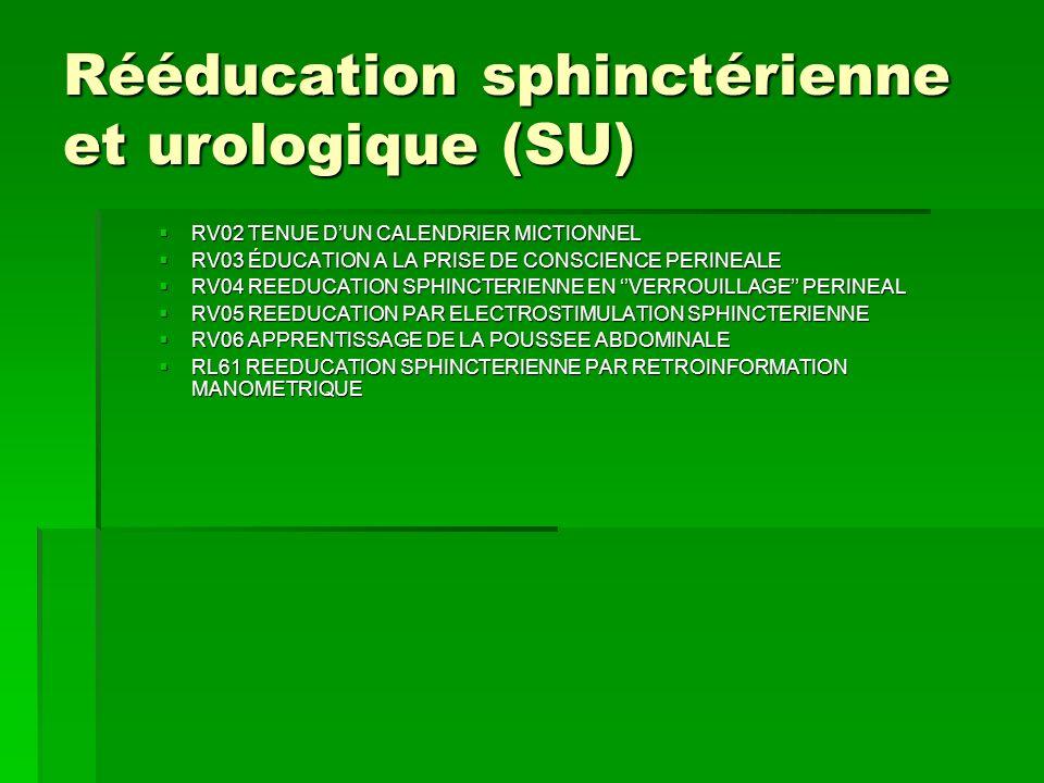 Rééducation sphinctérienne et urologique (SU) RV02 TENUE DUN CALENDRIER MICTIONNEL RV02 TENUE DUN CALENDRIER MICTIONNEL RV03 ÉDUCATION A LA PRISE DE C