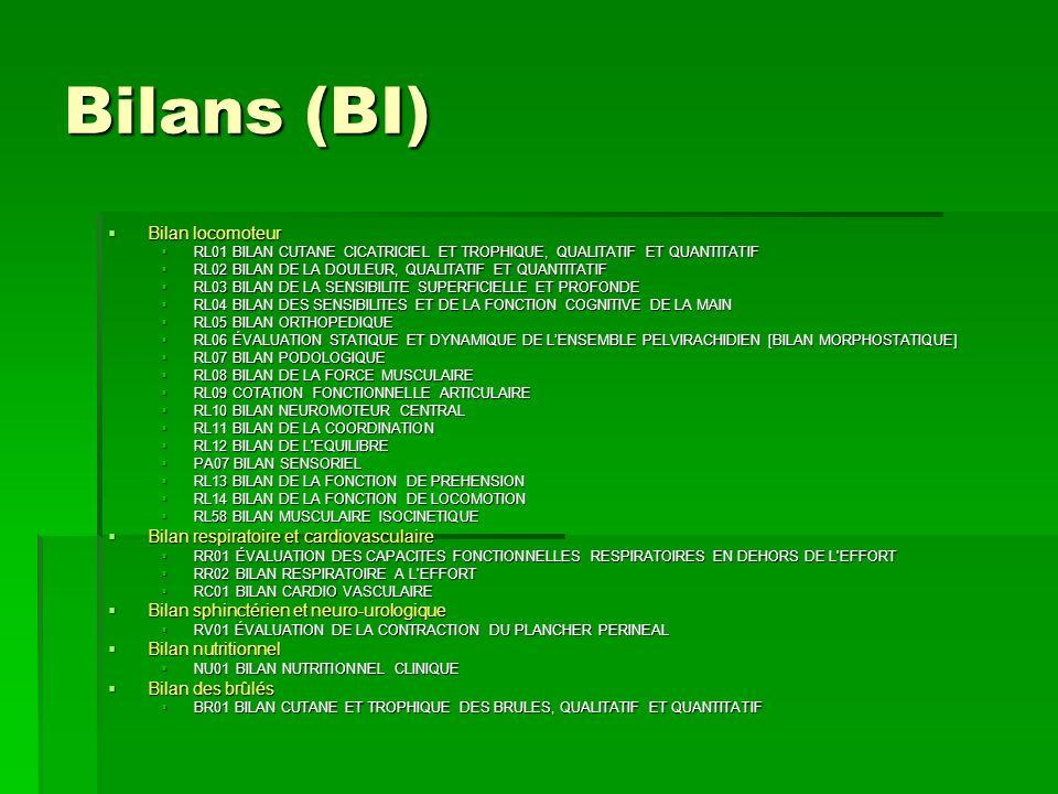Bilans (BI) Bilan locomoteur Bilan locomoteur RL01 BILAN CUTANE CICATRICIEL ET TROPHIQUE, QUALITATIF ET QUANTITATIF RL01 BILAN CUTANE CICATRICIEL ET T