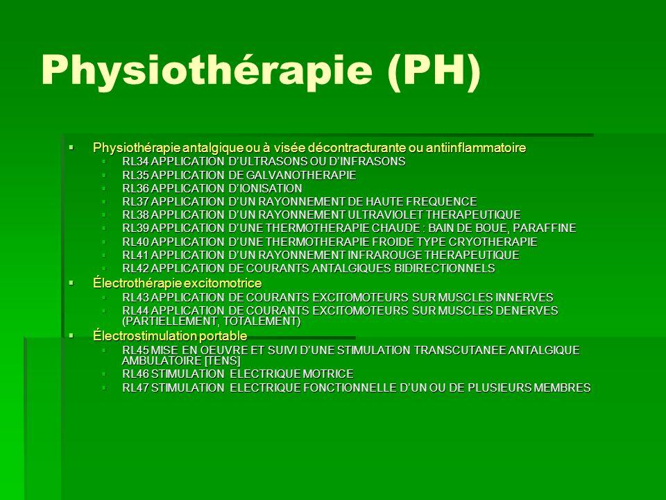 Physiothérapie (PH) Physiothérapie antalgique ou à visée décontracturante ou antiinflammatoire Physiothérapie antalgique ou à visée décontracturante o
