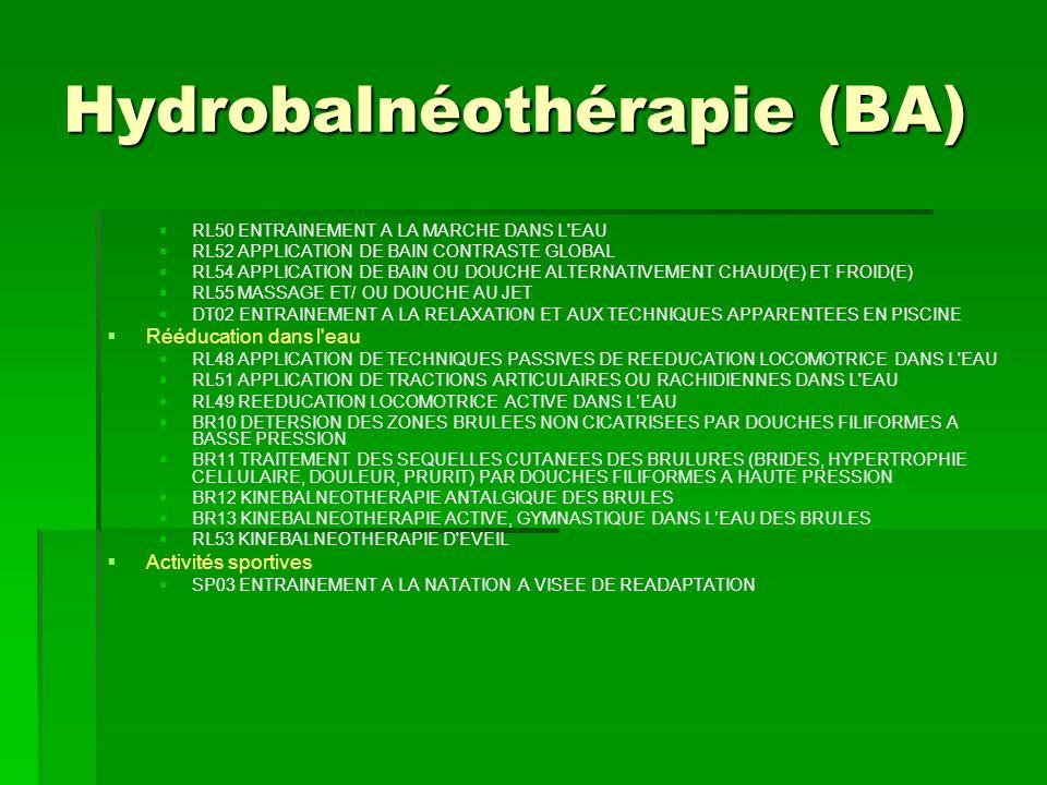 Hydrobalnéothérapie (BA) RL50 ENTRAINEMENT A LA MARCHE DANS L'EAU RL52 APPLICATION DE BAIN CONTRASTE GLOBAL RL54 APPLICATION DE BAIN OU DOUCHE ALTERNA