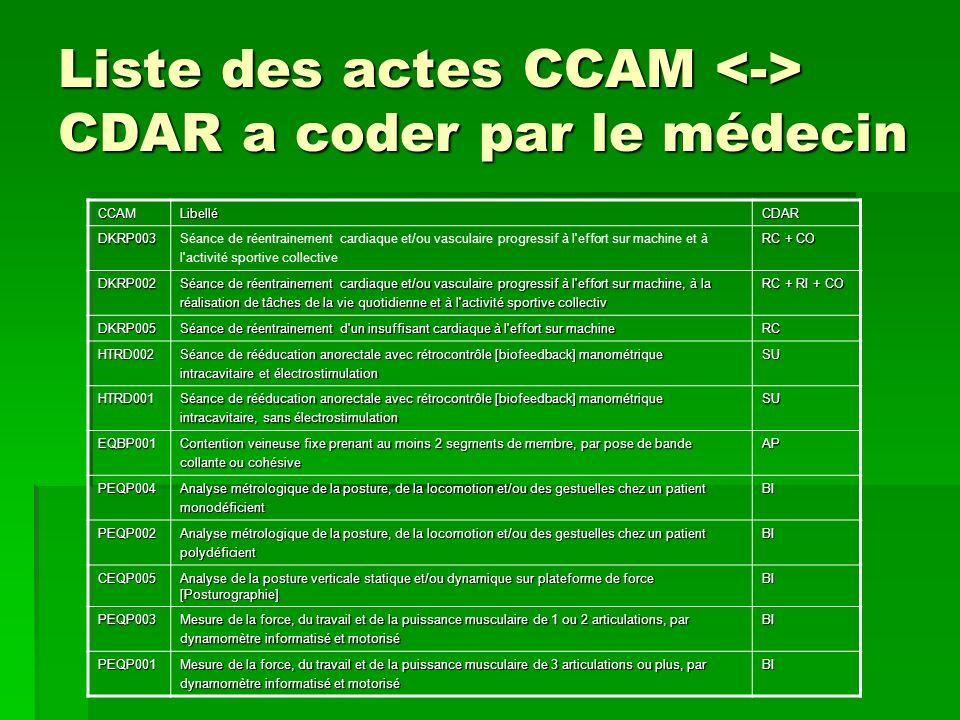Liste des actes CCAM CDAR a coder par le médecin CCAMLibelléCDAR DKRP003Séance de réentrainement cardiaque et/ou vasculaire progressif à l'effort sur