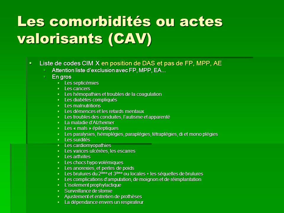Les comorbidités ou actes valorisants (CAV) Liste de codes CIM X en position de DAS et pas de FP, MPP, AE Liste de codes CIM X en position de DAS et p