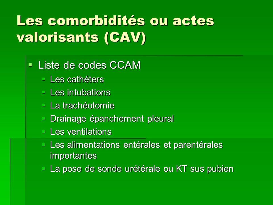 Les comorbidités ou actes valorisants (CAV) Liste de codes CCAM Liste de codes CCAM Les cathéters Les cathéters Les intubations Les intubations La tra