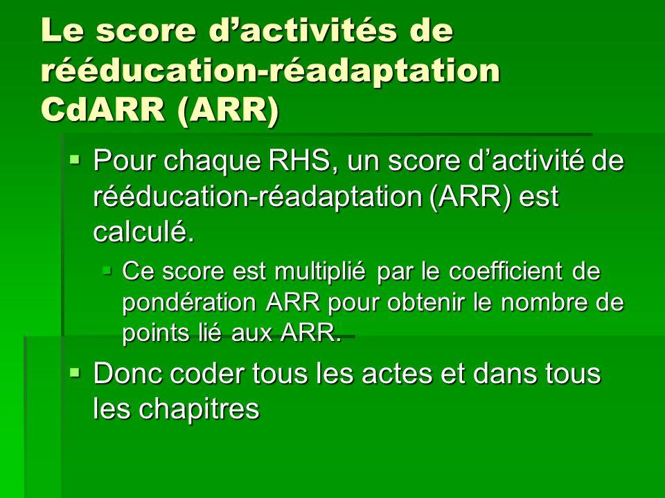 Le score dactivités de rééducation-réadaptation CdARR (ARR) Pour chaque RHS, un score dactivité de rééducation-réadaptation (ARR) est calculé. Pour ch