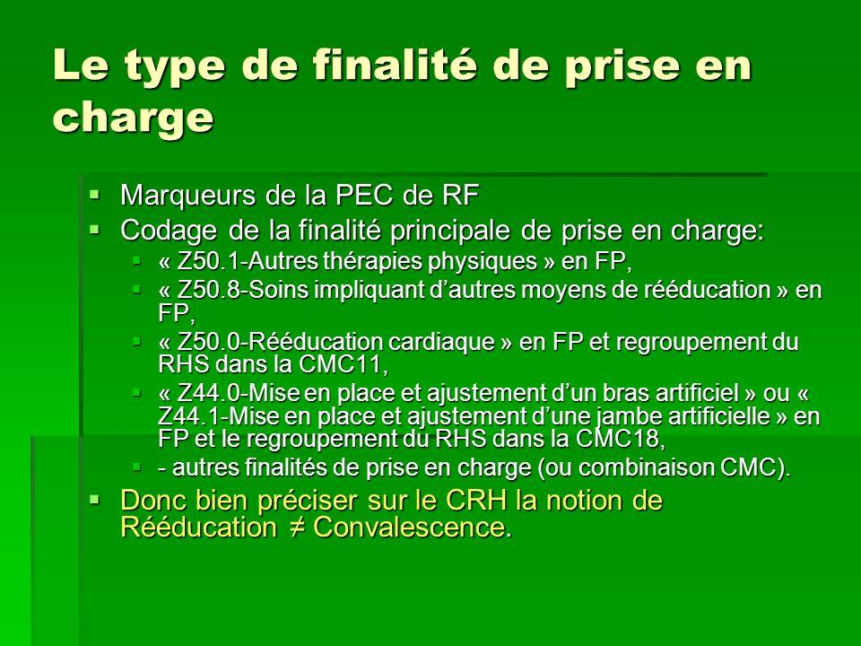 Le type de finalité de prise en charge Marqueurs de la PEC de RF Marqueurs de la PEC de RF Codage de la finalité principale de prise en charge: Codage