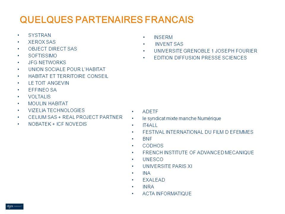 QUELQUES PARTENAIRES FRANCAIS SYSTRAN XEROX SAS OBJECT DIRECT SAS SOFTISSIMO JFG NETWORKS UNION SOCIALE POUR LHABITAT HABITAT ET TERRITOIRE CONSEIL LE