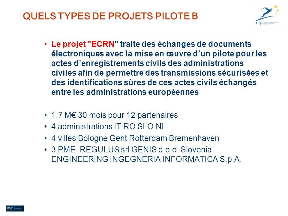 QUELS TYPES DE PROJETS PILOTE B Le projet