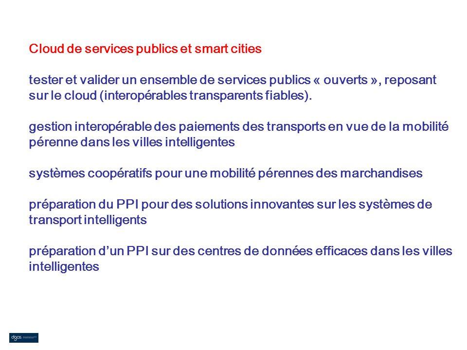 Cloud de services publics et smart cities tester et valider un ensemble de services publics « ouverts », reposant sur le cloud (interopérables transpa