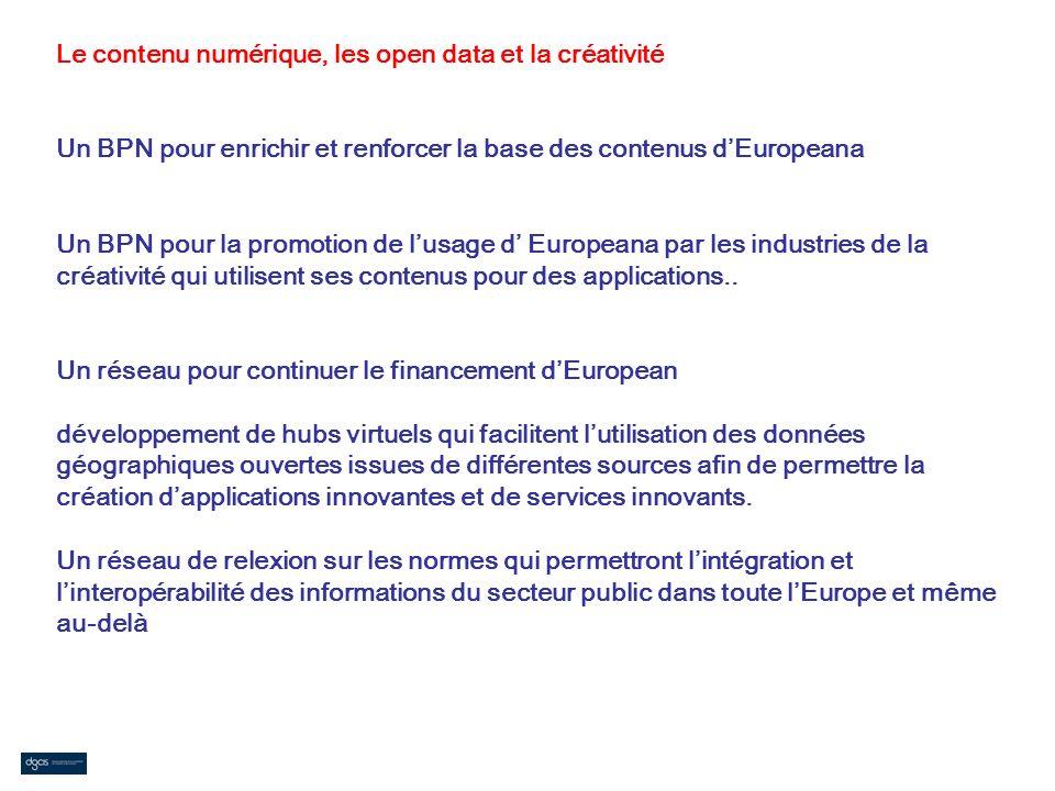 Le contenu numérique, les open data et la créativité Un BPN pour enrichir et renforcer la base des contenus dEuropeana Un BPN pour la promotion de lus