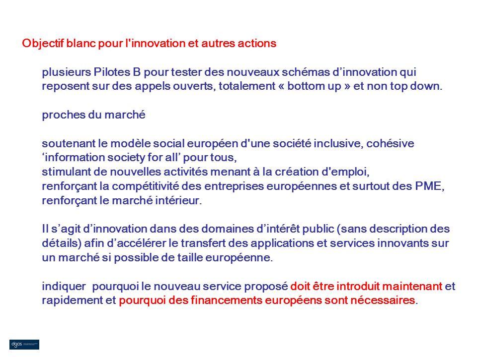 Objectif blanc pour l'innovation et autres actions plusieurs Pilotes B pour tester des nouveaux schémas dinnovation qui reposent sur des appels ouvert