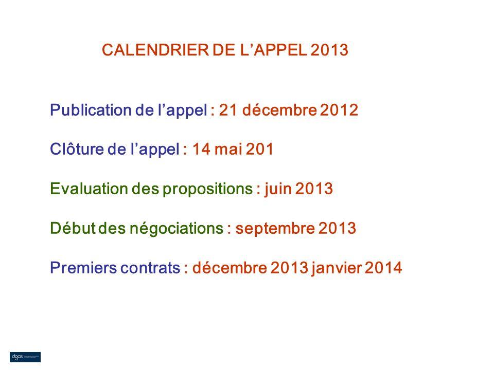 CALENDRIER DE LAPPEL 2013 Publication de lappel : 21 décembre 2012 Clôture de lappel : 14 mai 201 Evaluation des propositions : juin 2013 Début des né