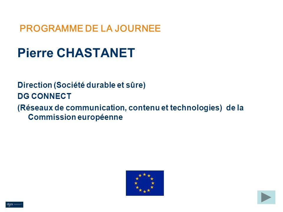 PROGRAMME DE LA JOURNEE Pierre CHASTANET Direction (Société durable et sûre) DG CONNECT (Réseaux de communication, contenu et technologies) de la Comm