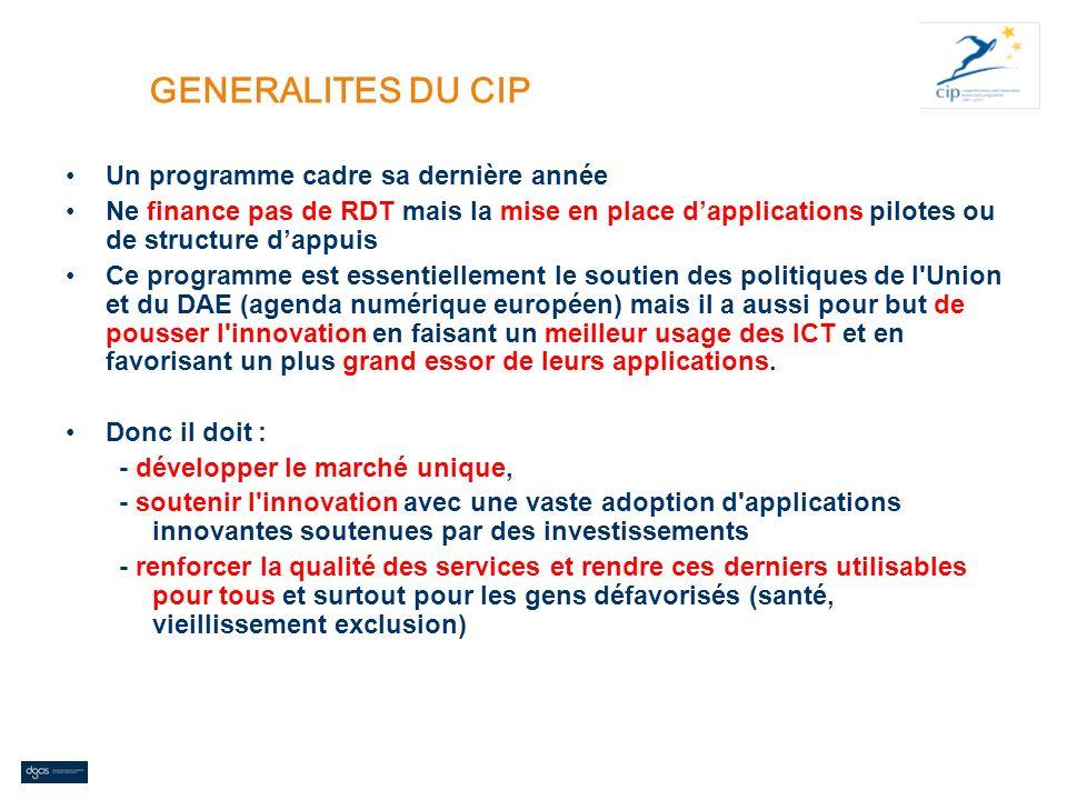 GENERALITES DU CIP Un programme cadre sa dernière année Ne finance pas de RDT mais la mise en place dapplications pilotes ou de structure dappuis Ce p