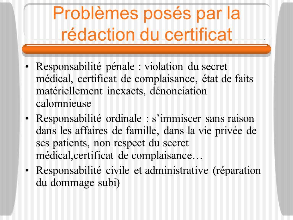 Problèmes posés par la rédaction du certificat Responsabilité pénale : violation du secret médical, certificat de complaisance, état de faits matériel