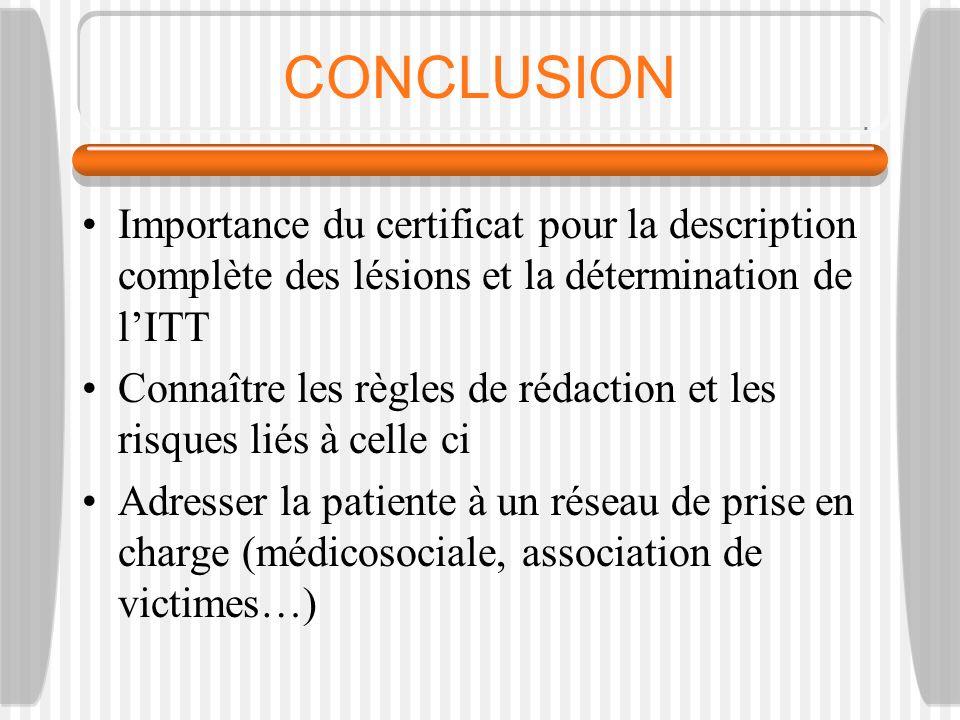 CONCLUSION Importance du certificat pour la description complète des lésions et la détermination de lITT Connaître les règles de rédaction et les risq