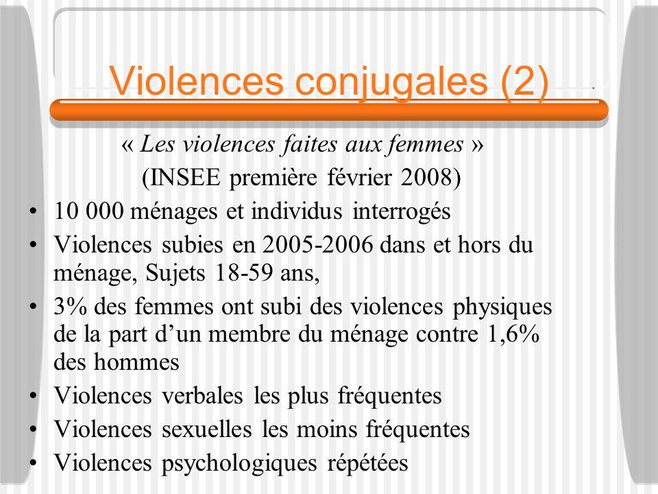 Violences conjugales (2) « Les violences faites aux femmes » (INSEE première février 2008) 10 000 ménages et individus interrogés Violences subies en