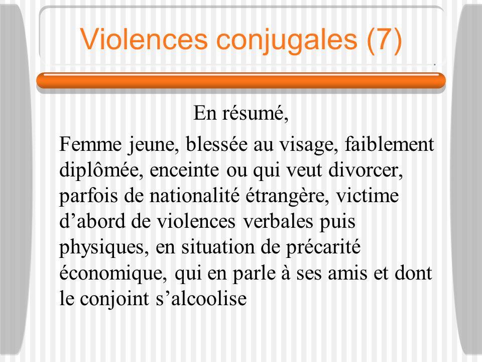Violences conjugales (7) En résumé, Femme jeune, blessée au visage, faiblement diplômée, enceinte ou qui veut divorcer, parfois de nationalité étrangè