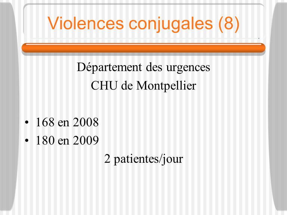 Violences conjugales (8) Département des urgences CHU de Montpellier 168 en 2008 180 en 2009 2 patientes/jour