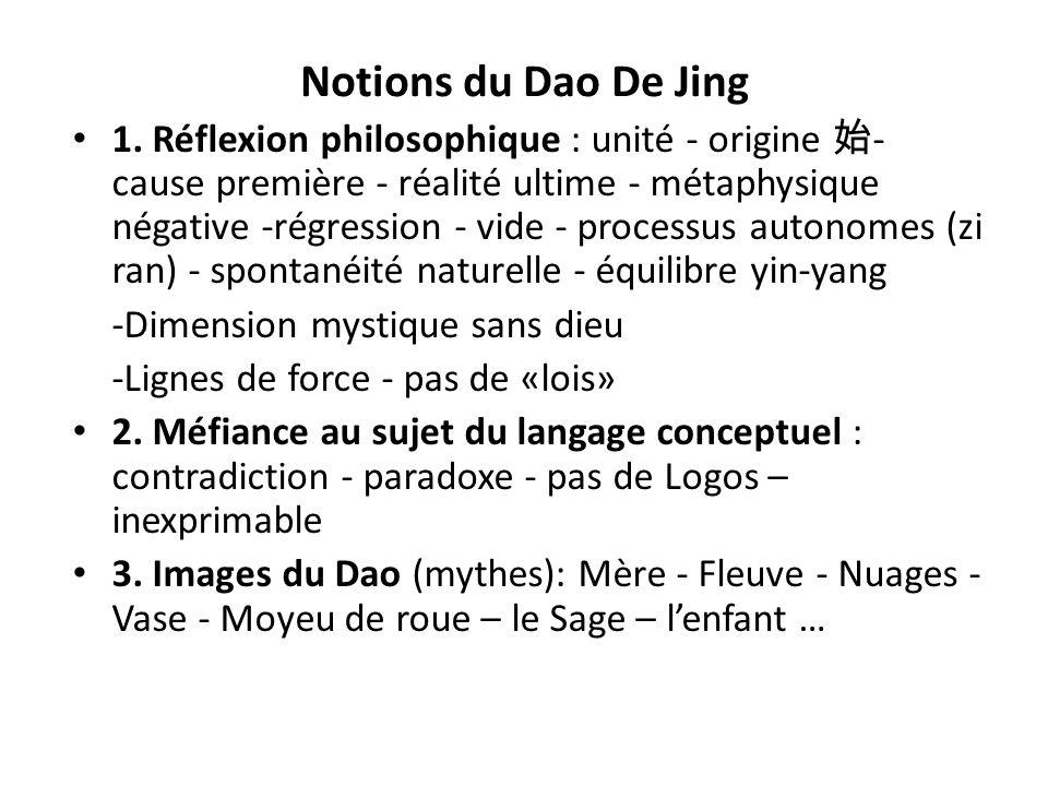 Notions du Dao De Jing 1. Réflexion philosophique : unité - origine - cause première - réalité ultime - métaphysique négative -régression - vide - pro