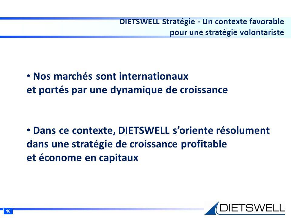 16 DIETSWELL Stratégie - Un contexte favorable pour une stratégie volontariste Nos marchés sont internationaux et portés par une dynamique de croissan